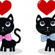 Black cats love pink blue — Stock Vector