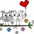 Two cute owls in love — Stock Vector