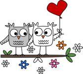 δύο χαριτωμένο κουκουβάγιες στην αγάπη — Διανυσματικό Αρχείο