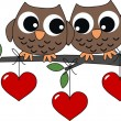 Two sweet owls in love — Stock Vector