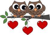 在爱情中的两个甜猫头鹰 — 图库矢量图片