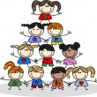 Stock Vector: Mixed ethnic children teamwork