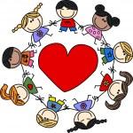 Happy mixed ethnic children — Stock Vector