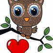 A sweet little brown owl — Stock Vector