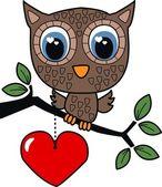 A sweet little brown owl — Stock Vector