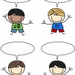 Stock Vector: Mixed ethnic boys with speech bubbles