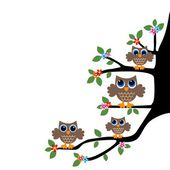 Owl family team — Stock Vector