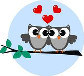 Two owls in love — Vector de stock