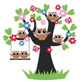 A sweet owl family — Stock Vector