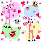 Giraffes and owls sweet colorful background — Stock Vector