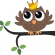 A sweet little brown owl with a crown — Stock Vector #49766015