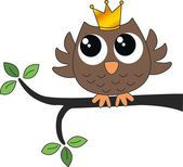A sweet little brown owl with a crown — Stock Vector