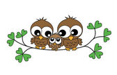 A sweet little owl family — Vector de stock