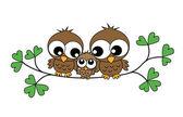 A sweet little owl family — Vetorial Stock