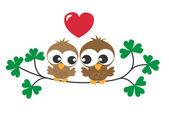 Duas corujas doces no amor — Vetorial Stock