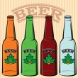 Set of bottles of beer — Stock Vector