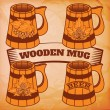Wooden beer mug — Stock Vector