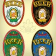 Set of four oval labels for beer — Stock Vector