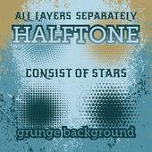Set of halftone on the grunge vector background — Stok Vektör