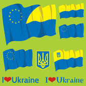 Set of flags Ukraine and EU — Stock Vector