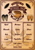 Menu template with mussels — Stock Vector