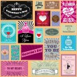 Stock vektor: Vector set of Happy valentines day cards