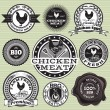 Stock Vector: Labels with chicken and eggs