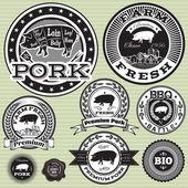 向量集的生猪及猪肉标签 — 图库矢量图片