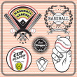 Set of vector emblems and signs for baseball — Vector de stock