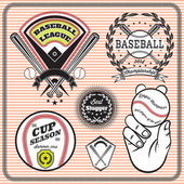 Set of vector emblems and signs for baseball — Stock Vector