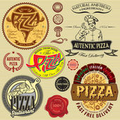 Set of icons on theme a pizza delivery restaurant — Stock Vector