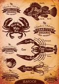 Vector diagram cut carcasses seafood — Stock Vector
