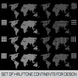 Set of halftone continents for design — Stock Vector #43528373