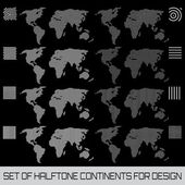Set of halftone continents for design — Stock Vector