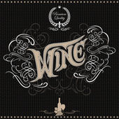 Background with inscription wine and ornament for menu — Vecteur