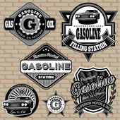 Set of labels on the topic gasoline — Stock Vector
