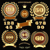 Set retro signs for the anniversary — Stock Vector