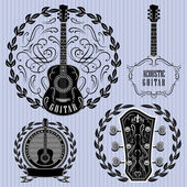 Set of labels with acoustic guitars — Vector de stock