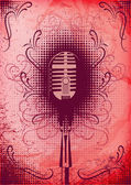 Retro poster with a microphone and decorative elements — Stock Vector