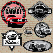 Set of emblems with retro car on wall — Stock Vector