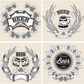 Set vector wreaths of rye and hops for beer — Stock Vector
