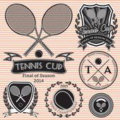 Set of emblems on big tennis — Stock Vector