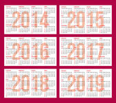 Calendar grid 2014, 2015, 2016, 2017, 2018, 2019 — Stock Vector