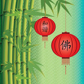 Background with bamboo and Chinese lanterns — Stock Vector