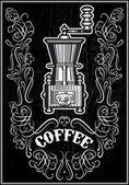 Moulin à café avec ornement et inscription — Vecteur