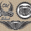 Set of retro emblems on the motorcycle theme — Stock Vector