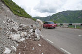 A landslide on a mountain road in Armenia — Stock Photo
