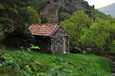 A small house in the mountains of Georgia — Stock Photo