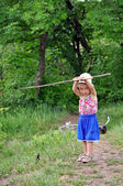Boy on summer fishing — Stock Photo