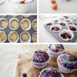 Group of images showing blueberry muffins being made — Stock Photo